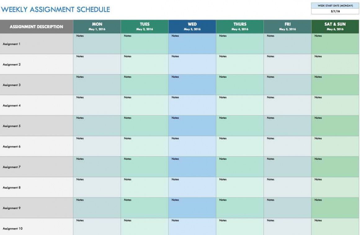 editable free weekly schedule templates for excel  smartsheet 2 week look ahead schedule template example