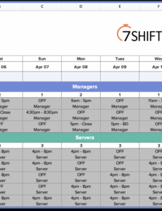 editable how to make a restaurant work schedule with free excel restaurant kitchen schedule template example