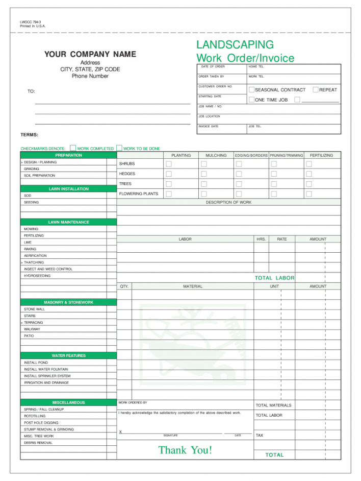 editable landscaping invoice template  fill online printable landscaping work order template pdf