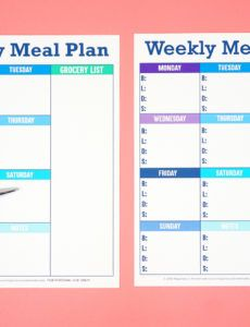 editable printable weekly meal planner template  happiness is homemade weekly dinner schedule template example