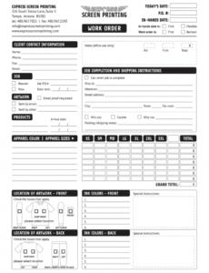 editable screen printing form  fill online printable fillable embroidery order form template word