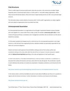 editable unincorporated association  tyne & wear sport pages 1  7 charity commission template constitution word