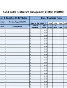 food order food order form excel template restaurant food order form template word