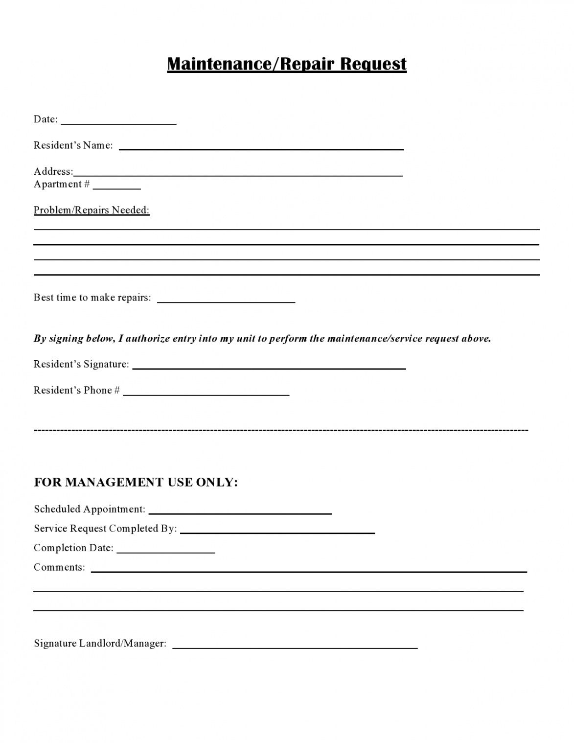 free 54 maintenance request form templates free  templatelab residential work order template word