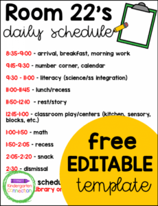 free a look at a full day kindergarten schedule  the kindergarten classroom schedule template pdf