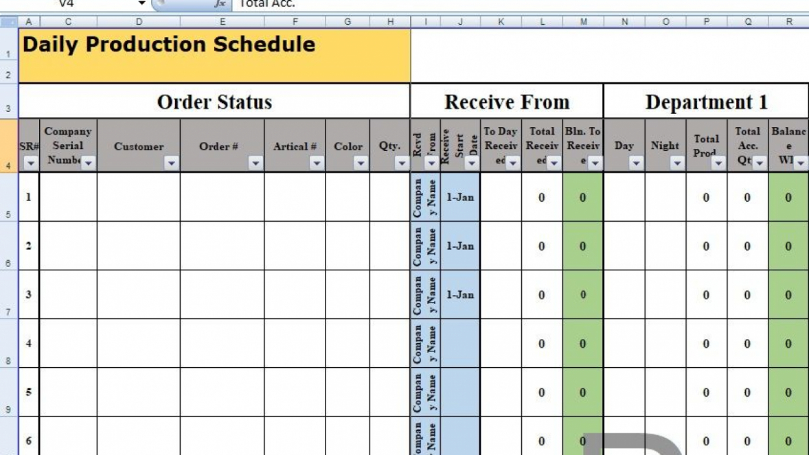 free daily production schedule template excel  free excel production planning schedule template doc