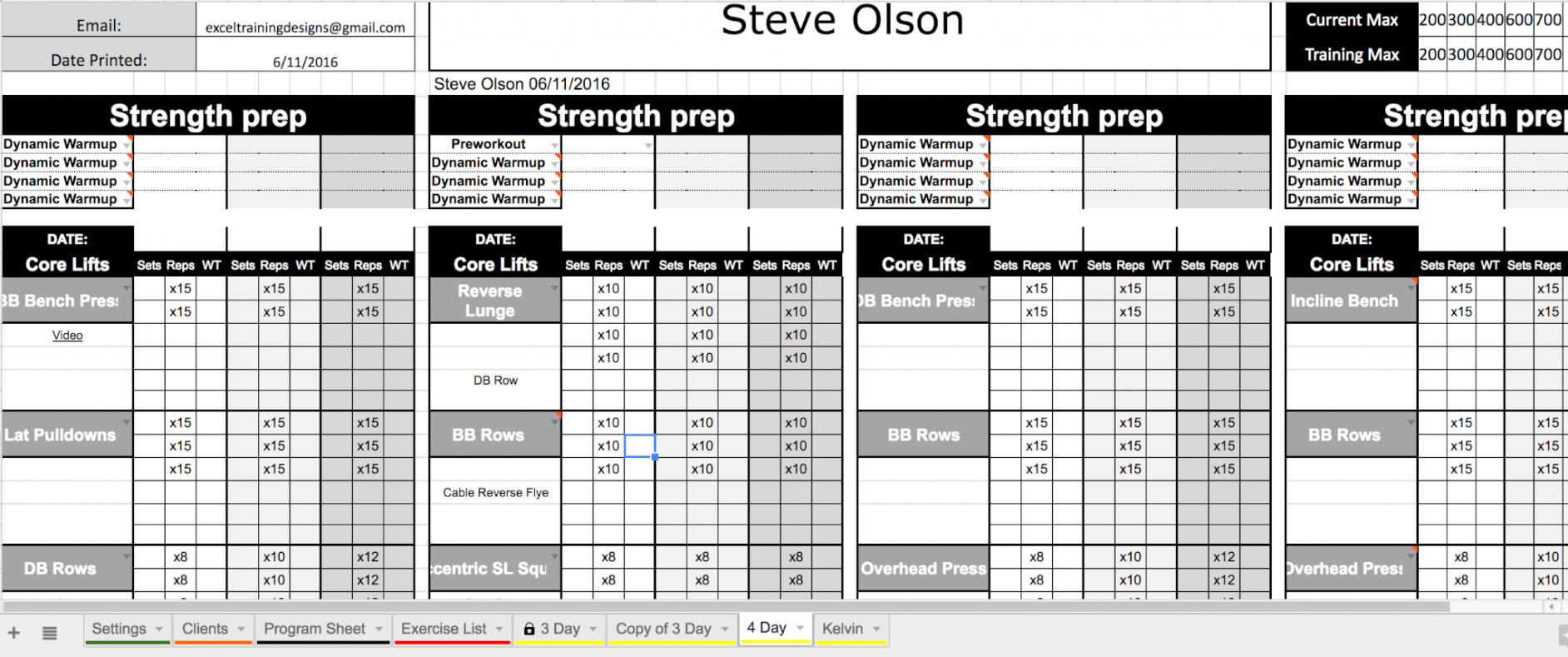 free excel personal training templates  excel training designs personal training schedule template example