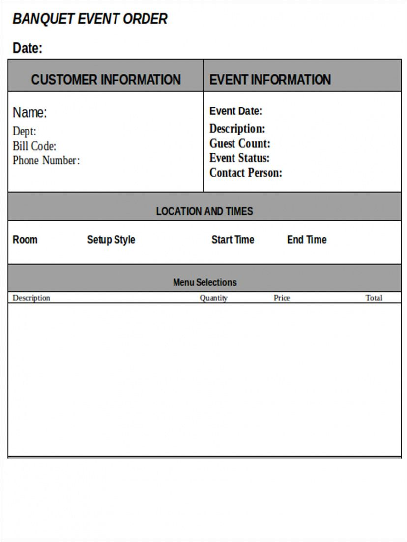 free free 9 event order forms in ms word  pdf  excel banquet event order template excel