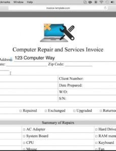 free free computer repair service invoice template  pdf  word computer repair order form template word