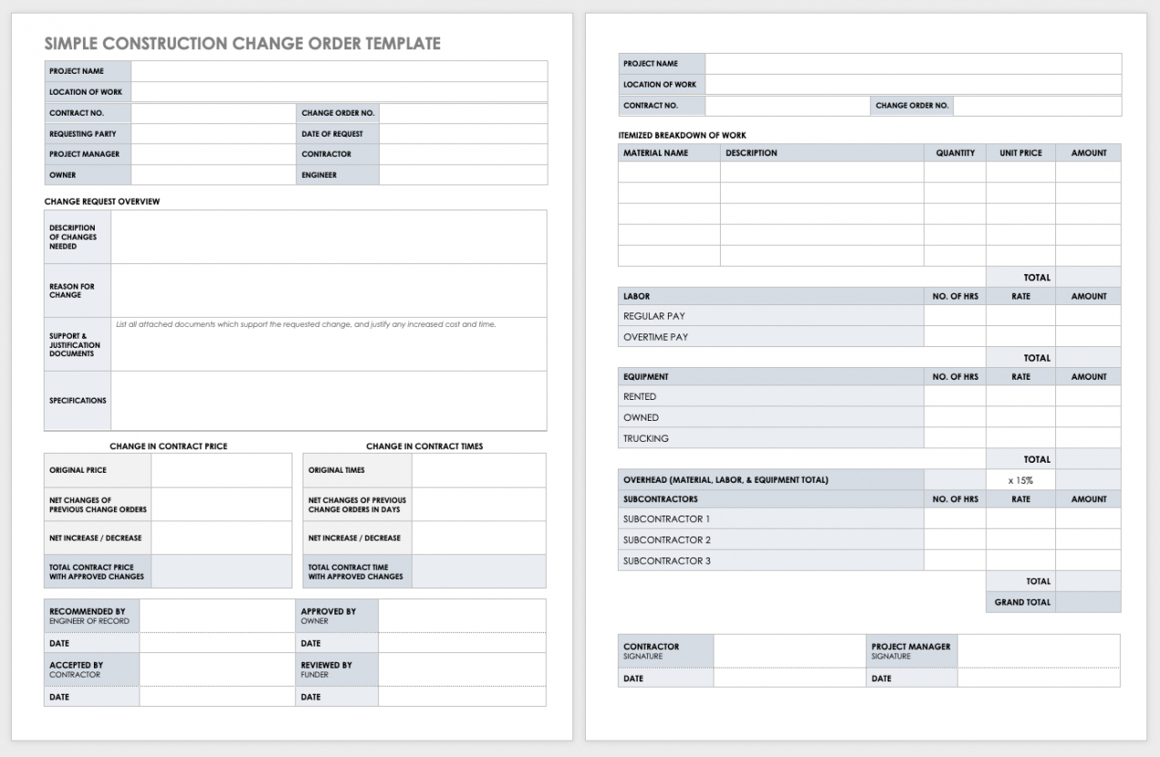 free free construction change order forms  smartsheet change order template for construction pdf