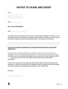free harassment cease and desist letter template  word cease and desist order template sample