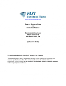 free insurance agency business plan template insurance agency business plan template pdf