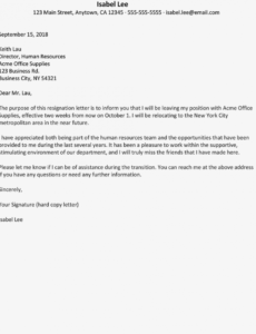 free resignation letter due to relocation examples resignation letter moving out of state