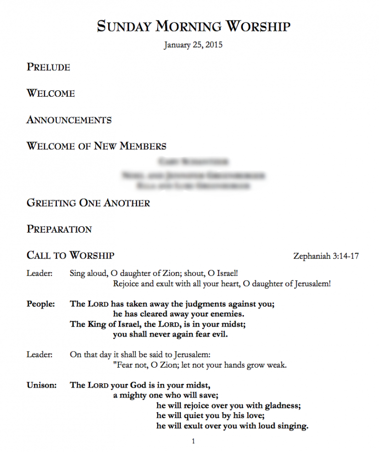 free sample liturgy — hope presbyterian church order of worship service template sample