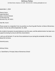 free teacher resignation letter examples elementary teacher resignation letter example