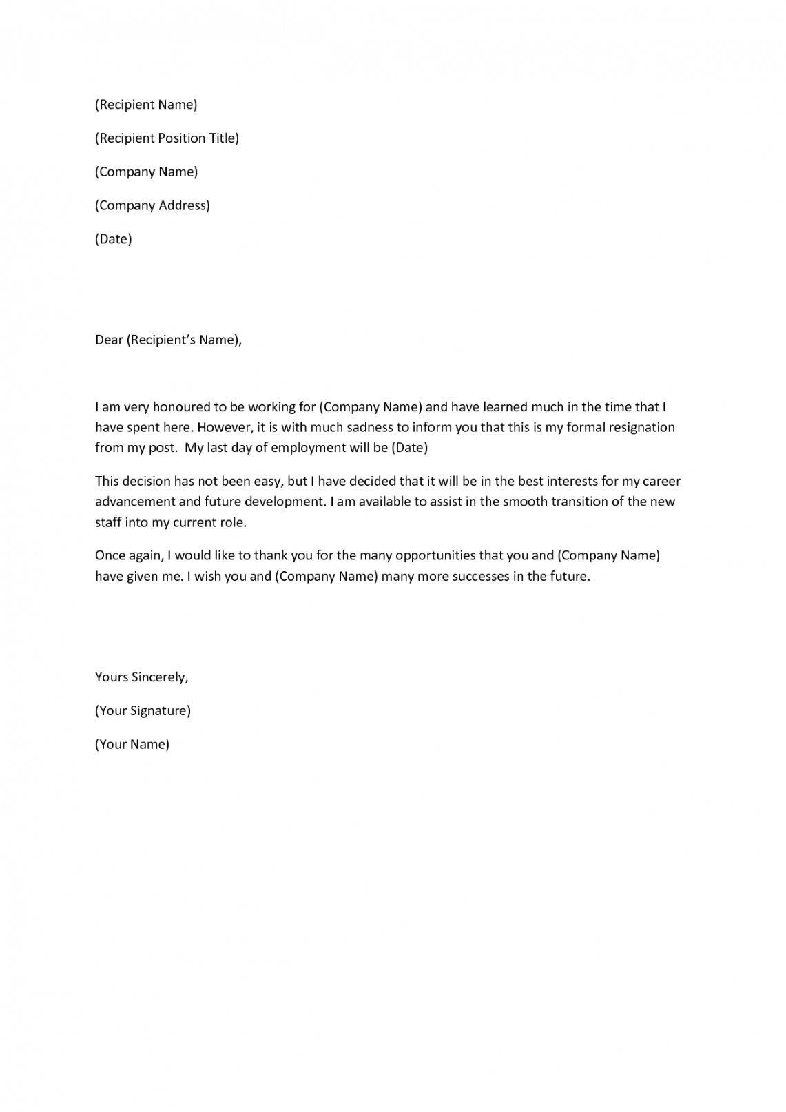 free writing a heartfelt resignation letters in pdf  examples resignation letter from church board sample