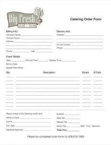 printable 10 catering order form templates  ms word numbers pages catering order form template sample