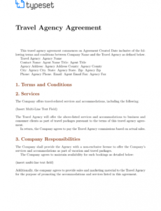 printable agreements  travel agency agreement template template travel agent commission template pdf