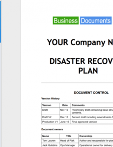 printable business continuity plan template disaster recovery business continuity disaster recovery plan template word