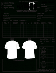 printable contract work order form  white house custom screen printing embroidery order form template excel