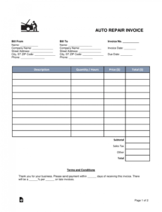 printable free auto body mechanic invoice template  word  pdf auto body work order template excel