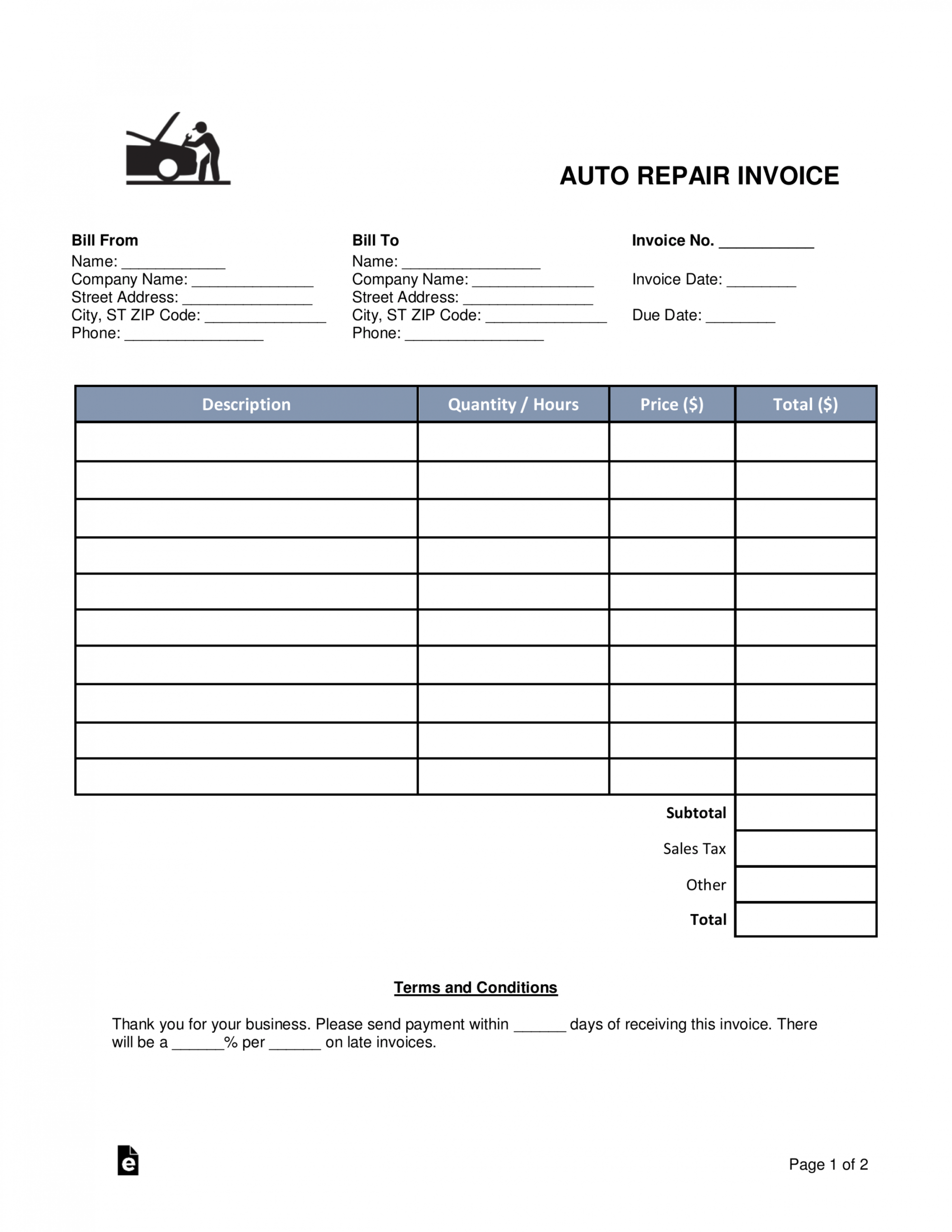printable free auto body mechanic invoice template  word  pdf mechanic shop work order template doc