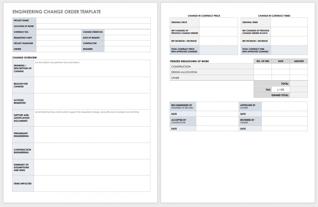 printable free construction change order forms  smartsheet engineering change order template