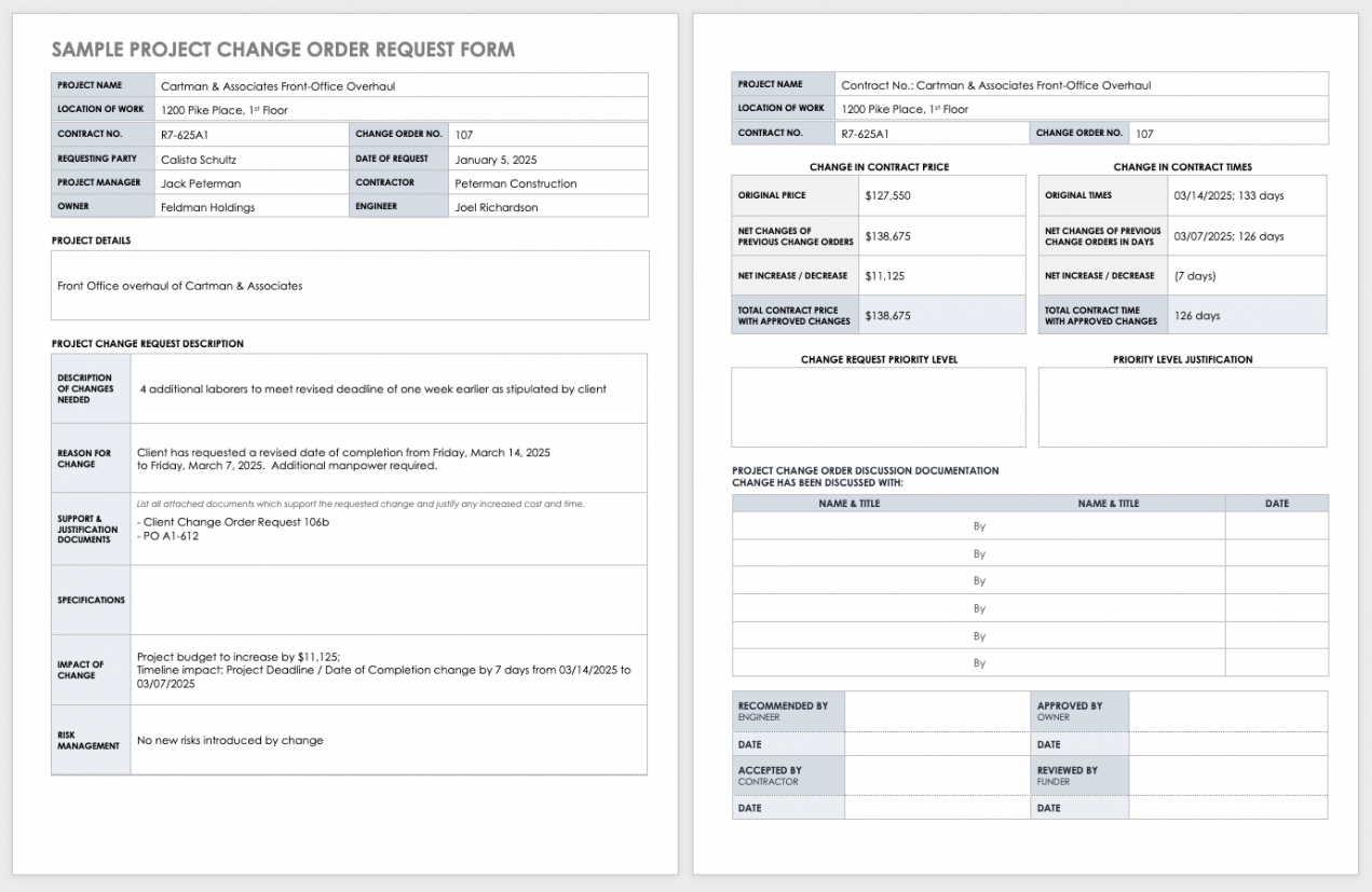 printable free construction change order forms  smartsheet subcontractor change order template doc