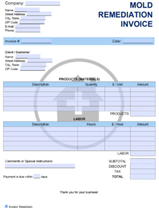 printable free mold remediation invoice template  pdf  word  excel mold remediation work plan template