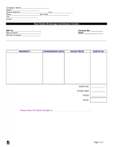 printable free real estate agent commission invoice template  word real estate agent commission template word