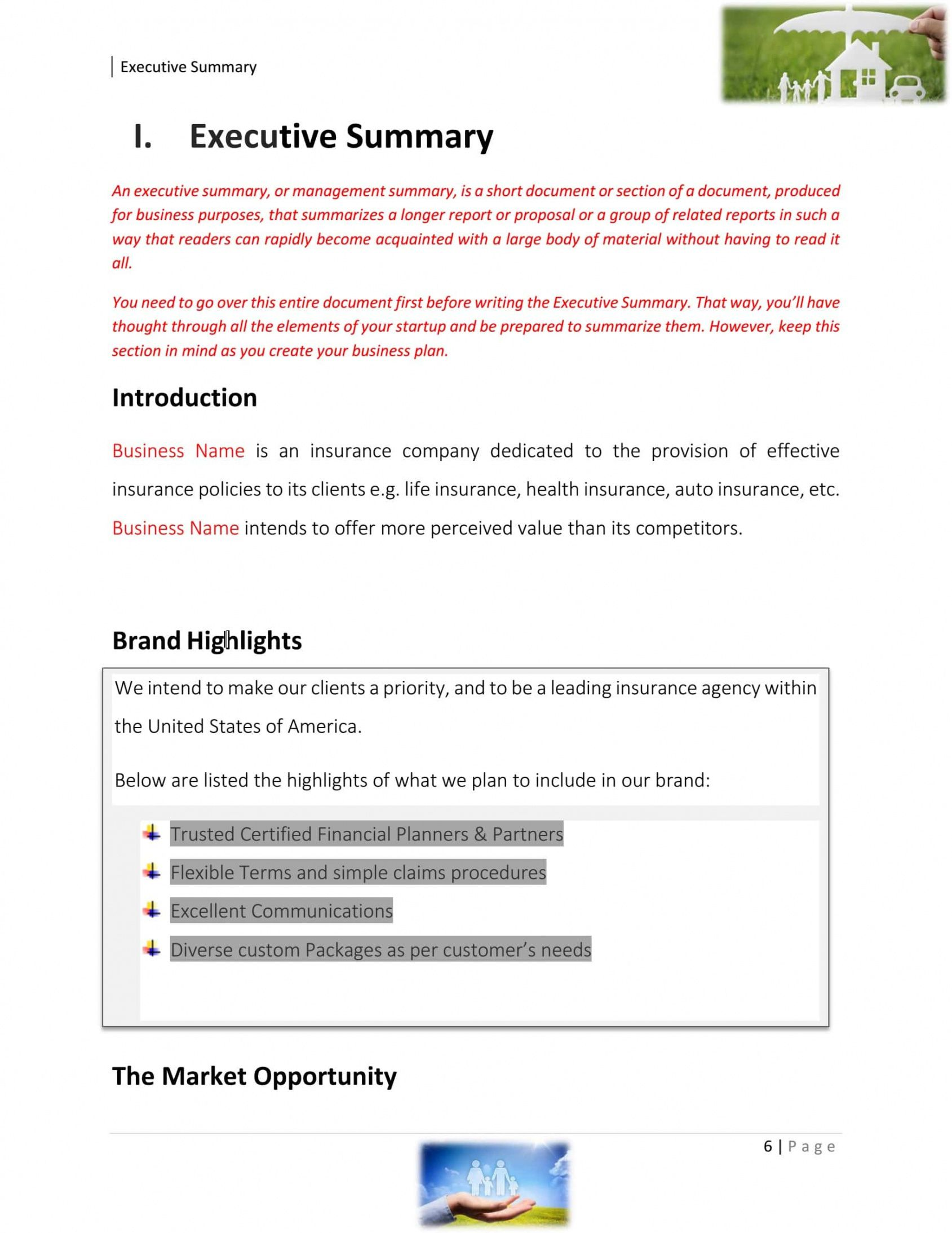 printable insurance agency business plan template sample pages  black insurance agency business plan template pdf