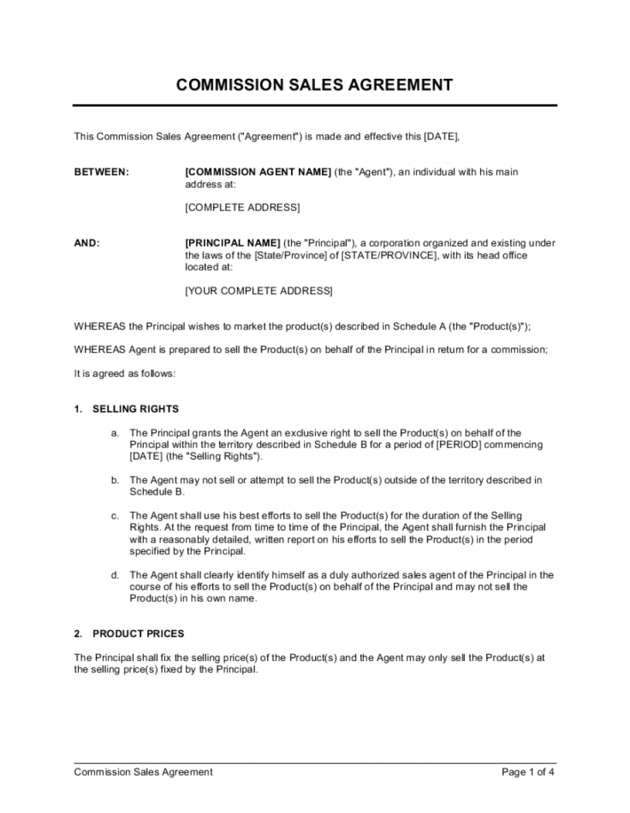 sample commission sales agreement template businessinabox™ sales contract commission template word