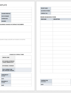 sample free construction change order forms  smartsheet change order template for construction