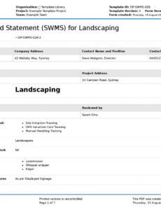 sample landscaping safe work method statement free landscaping swms landscaping work order template