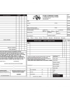 sample michigan auto repair invoice  business form printing mechanic shop work order template