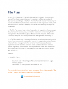 sample records management file plan template  3 quick steps records management plan template pdf