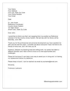 sample resignation letter with reason for leaving  best resignation letter moving out of state
