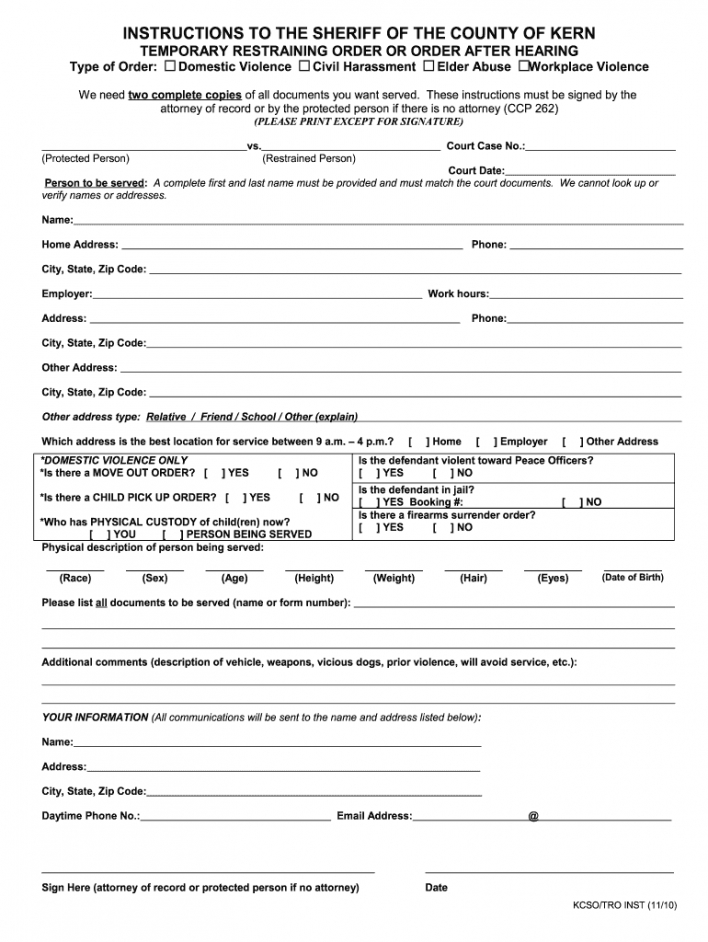 sample restraining order  fill out and sign printable pdf template  signnow temporary restraining order template sample