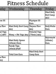 workout schedule template  think moldova personal training schedule template excel