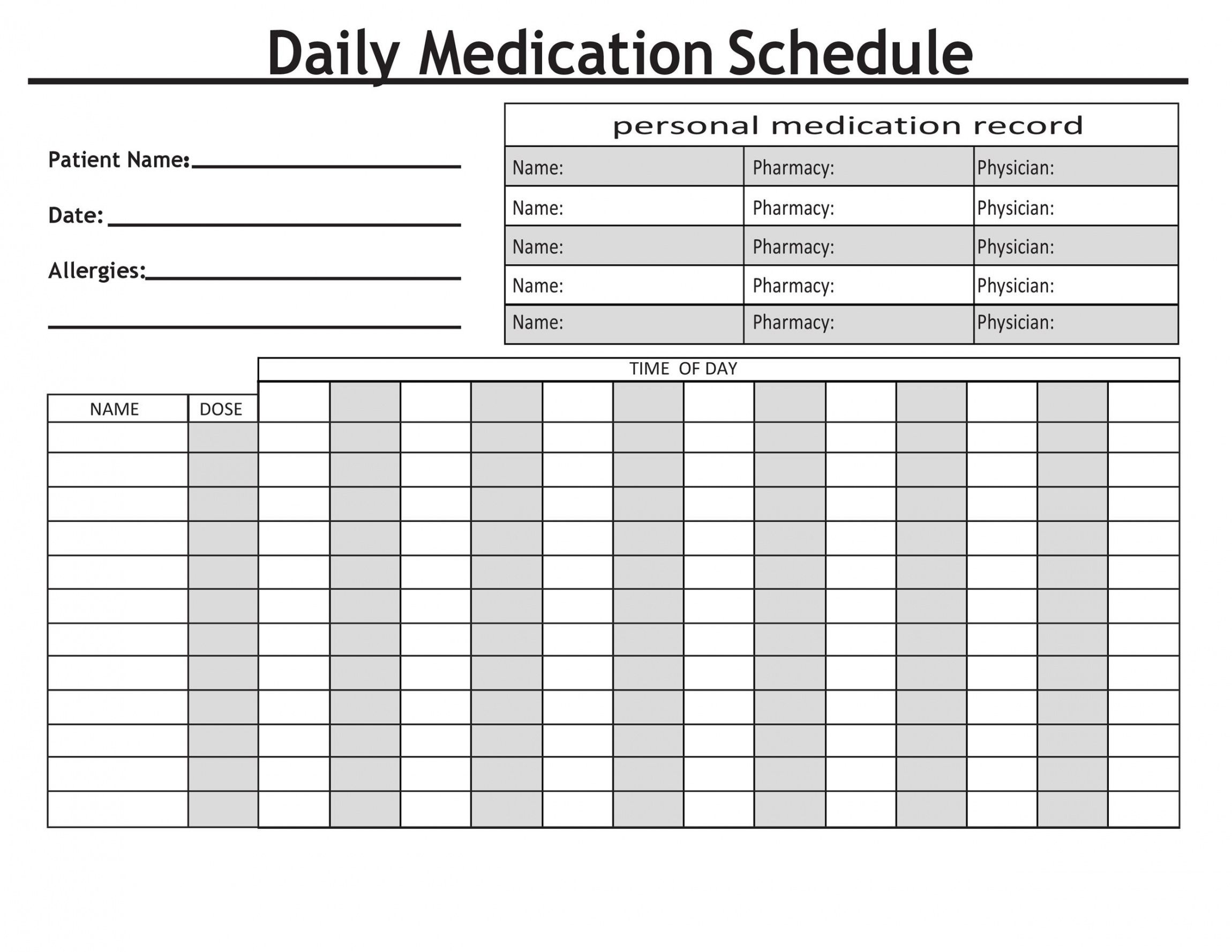 40 great medication schedule templates medication calendars daily medicine schedule template
