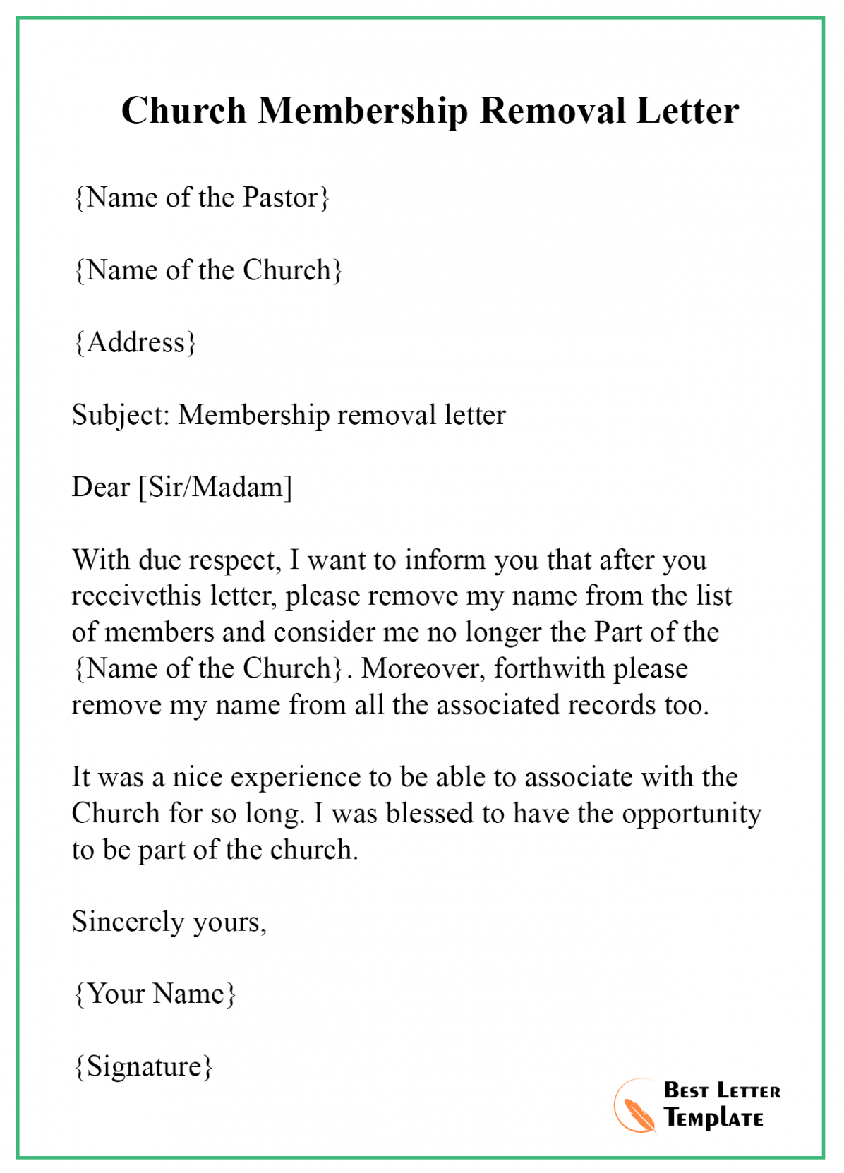 churchmembershipremovalletter  best letter template church membership resignation letter pdf