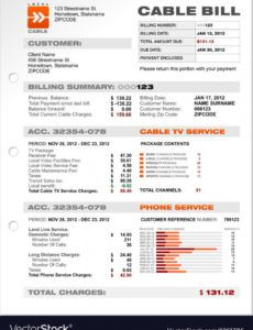 editable cable service phone bill document sample template cable bill template sample