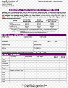 editable family reunion schedule template budget registration form of family reunion schedule of events template