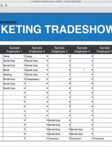 editable tradeshow staff schedule template free download trade show booth schedule template excel