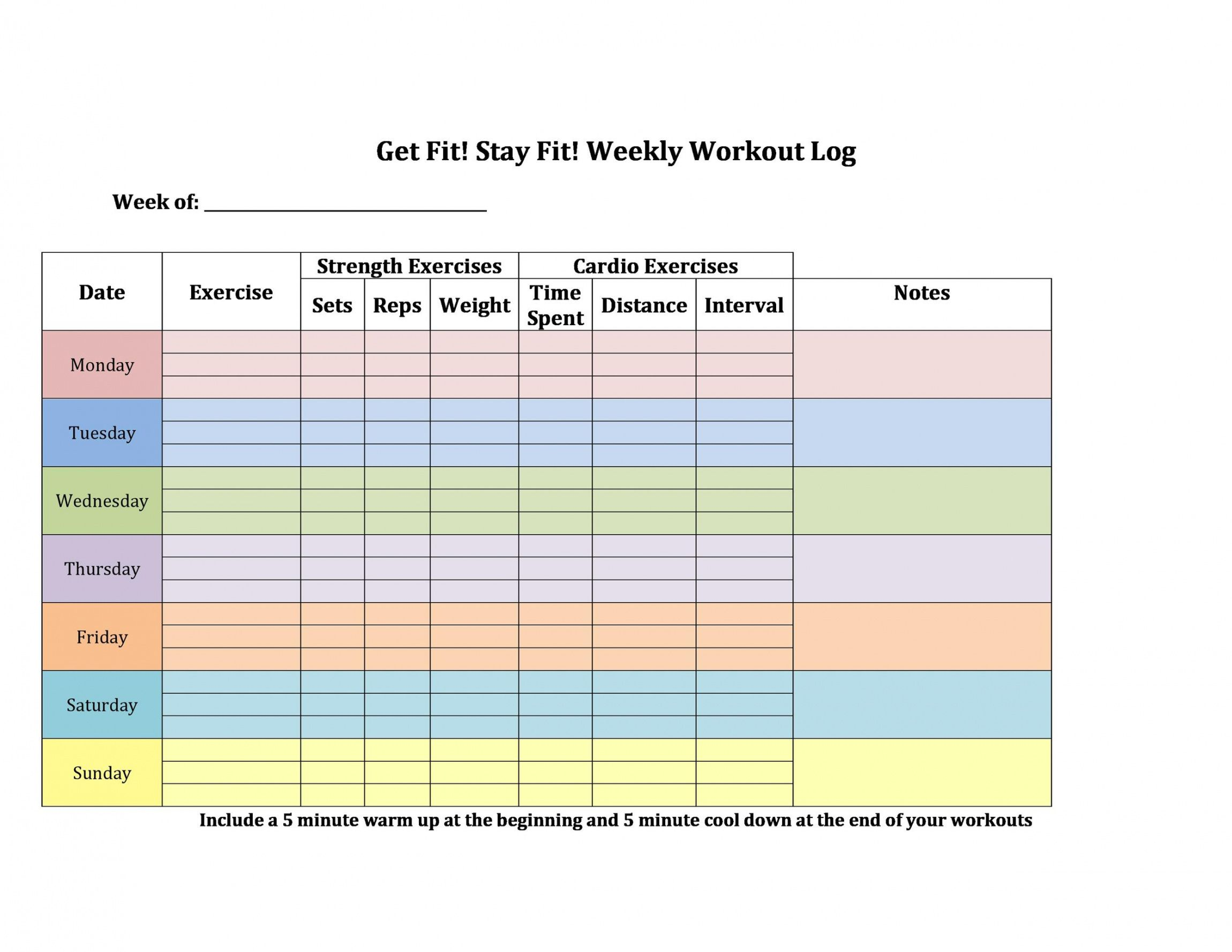 free 40 effective workout log & calendar templates  templatelab weight training schedule template pdf