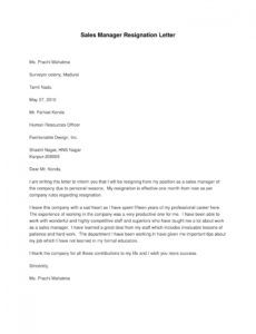 free 9 manager resignation letter examples  pdf doc  examples sales resignation letter sample