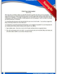 free free printable child care authorization form generic daycare resignation letter sample