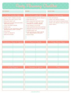 free party plan checklist template ~ addictionary birthday party schedule template pdf