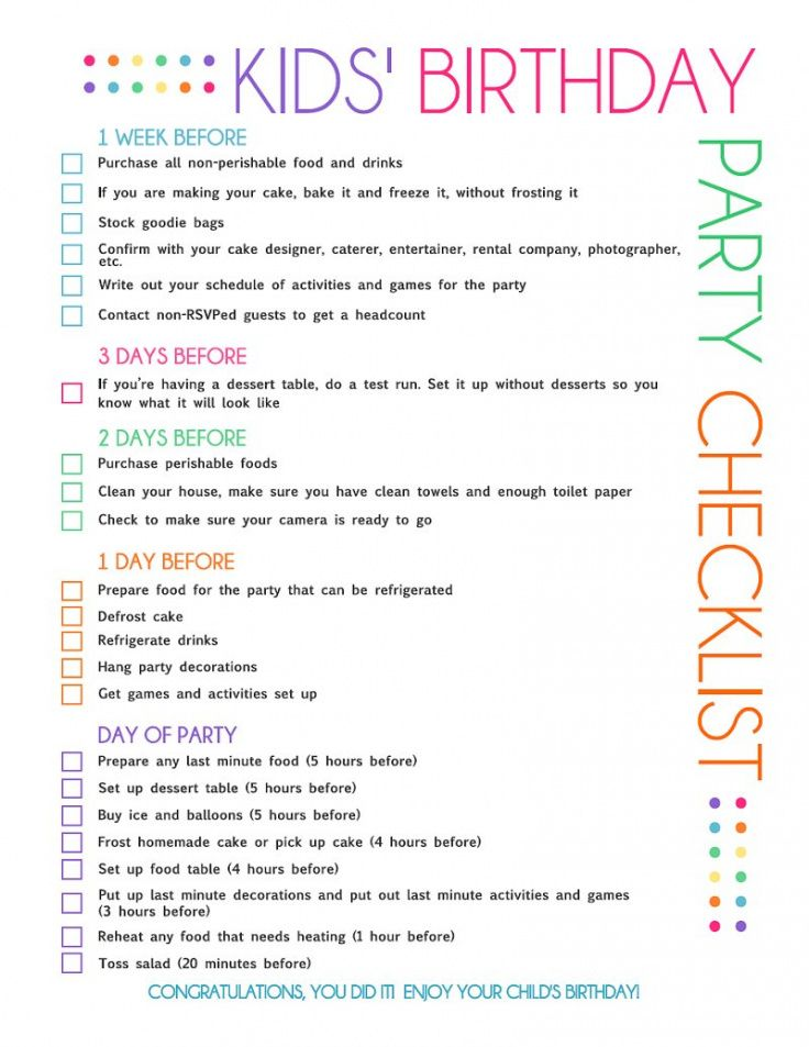 free printable kids' party planning checklist  catch my party birthday party schedule template example