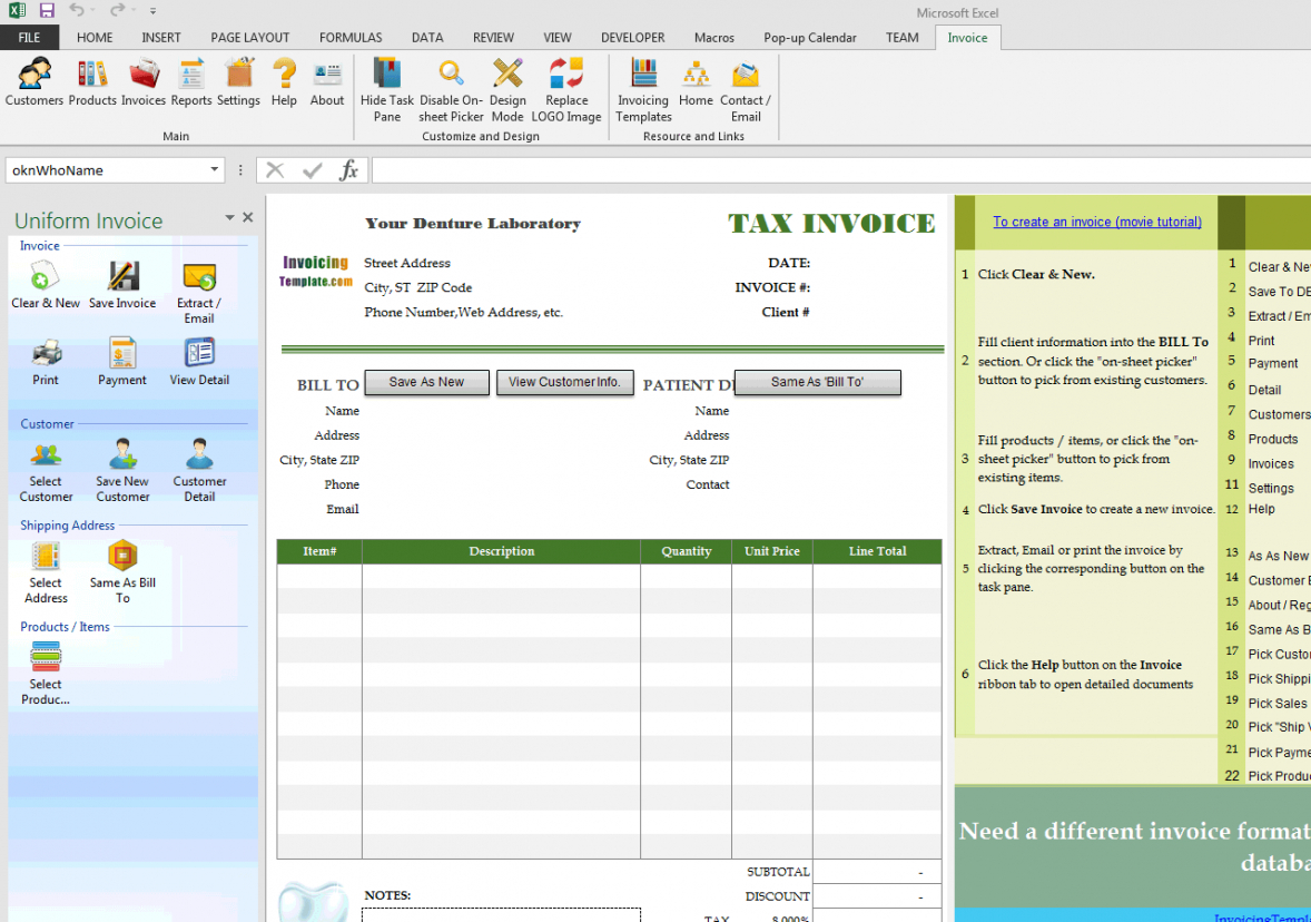 printable bill format for dental clinic and denture laboratory dentist bill template pdf